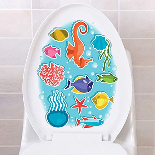"""IARTTOP Tropical Fish Bathroom Decal, Undersea World Washroom Sticker, Colorful Fish Seahorse Octopus Coral Vinyl Decal for Toilet Lid Bathroom Seat Decor-1 Sheet(12.6""""x15.3"""")"""