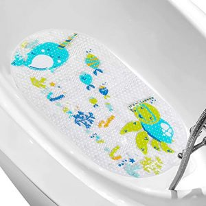 "LEJHOME Bath Mat for Kids - Large Cartoon Non-Slip Bathroom Bathtub Kid Mats - 27.5""x 16"" Toddler Shower Mats for Floor Machine Washable"