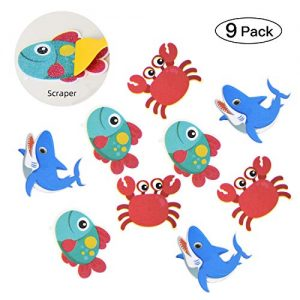 KarlunKoy Non Slip Bathtub Stickers Adhesive Safety Shower Treads Sticker Tub Tattoo Sea Creature Bathroom Applique Decal with Scraper Pack of 9
