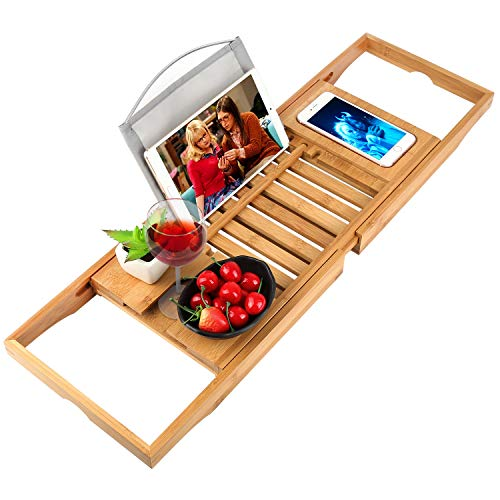 oobest Bathtub Tray Bamboo Bathtub Caddy Tray with Extending Sides Adjustable Book Holder with Premium Luxury Tray Organizer for Phone and Wineglass (Natural Bamboo Color)