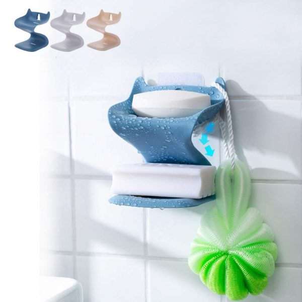 FUNDE-ROD Double Layer Soap Dish,Soap Dishes for Shower Bar Soap Holder for Bathroom Accessory, Kitchen Sponge No Drilling Wall Mounted (Light Blue, 1pcs)