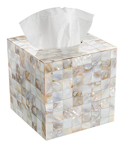 Creative Scents Tissue Box Cover – Decorative Square Tissue Holder is Finished in Beautiful Mother of Pearl Milano Collection
