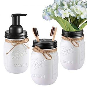 Andrew & Sarah Mason Jar Bathroom Set(3 Piece)-Foaming Soap Dispenser, Toothbrush Holder,Flower Vase,for Wedding House Decor Countertop and Vanity Organizer Bathroom Kitchen Farmhouse Décor (Black)