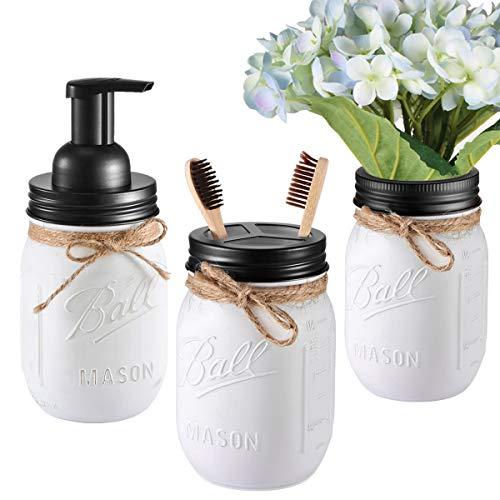Andrew & Sarah Mason Jar Bathroom Set(3 Piece)-Foaming Soap Dispenser, Toothbrush Holder,Flower Vase,for Wedding House Decor Countertop and Vanity Organizer Bathroom Kitchen Farmhouse Décor (Black)