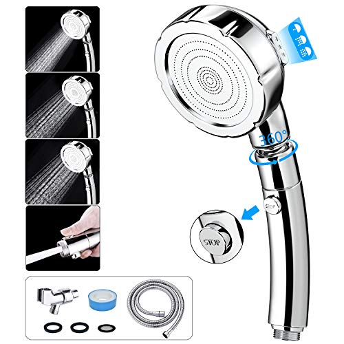 Handheld Shower Head with Hose - INAYA Detachable Shower Head with Handheld Spray & ON/OFF Pause Switch & 3 Spray Settings High Pressure Showerhead with Extra Long Hose (Upgraded Prevent Leakage Hose)