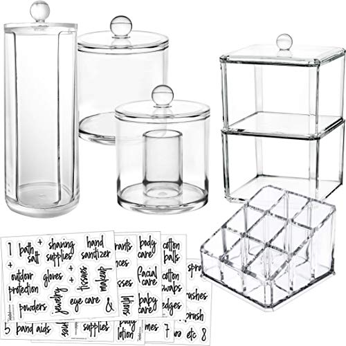 Talented Kitchen 6-Pack Makeup Organizer Premium Quality Acrylic Plastic Containers. Bathroom Beauty Storage Set: 5 Canisters & 107 Printed Labels Organization