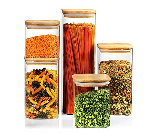 Set of 5 Square Canisters, Glass Kitchen Canister with Airtight Bamboo Lid, Glass Storage Jars for Kitchen, Bathroom and Pantry Organization Ideal for Flour, Sugar, Coffee, Candy, Snack and More…