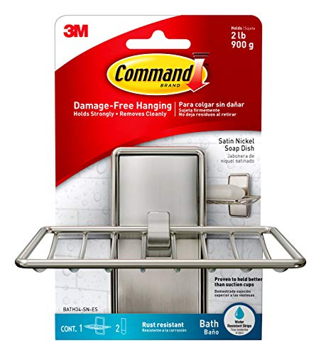 Command Soap Dish, Satin Nickel, 1-Soap Dish (BATH34-SN-ES), Organize your dorm