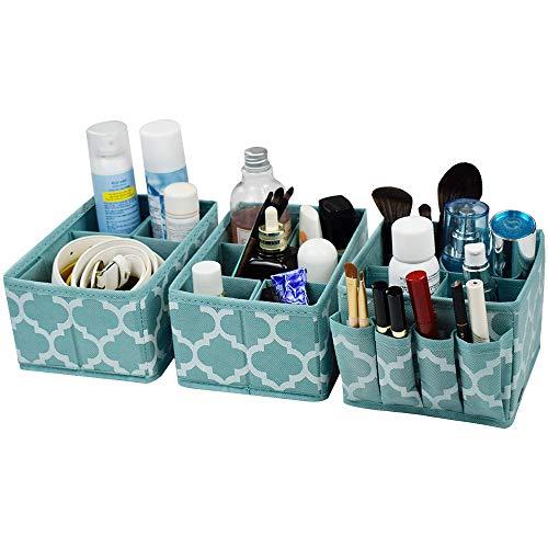 homyfort Cosmetic Storage Makeup Organizer, DIY Adjustable Multifunction Storage Box Basket Bins for Makeup Brushes, Bathroom Countertop or Dresser, Set of 3 Blue