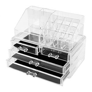 Agoal Makeup Organizer, Acrylic Cosmetic Storage, Clear Cosmetic Storage Organizer with Drawers and Jewelry Display Box