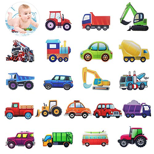 Cieovo 20 Set Non-Slip Bathtub Stickers, Transportation Vehicle Tractor Cars Trucks Excavator Decal Treads, Adhesive Safety Anti-Slip Appliques for Bath Tub and Shower Surfaces