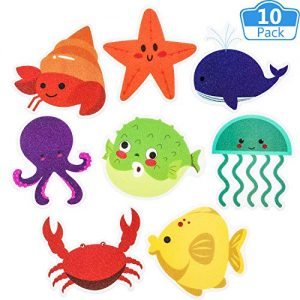 Mudder Non-Slip Bathtub Stickers Sea Creature Decal Bath Treads Non Slip Stickers Tub Tattoos Adhesive Safety Anti-Slip Appliques for Bath Tub and Shower Surfaces (10 Pieces)
