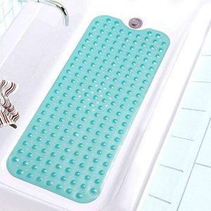 "Pike Sellers Bathtub and Shower Mat 40"" x 16"" Long Non-Slip, Elite Quality Guaranteed!! Antibacterial, BPA, Machine Washable, Firm Grip, Multipurpose Use (Bathtub, Under The Sink, Kitchen) Teal Color"