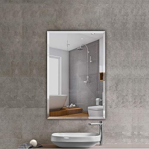 "Beauty4U Rectangular Frameless Wall Mirrors-24 x 36"" Frameless Beveled HD Bathroom Mirror Vanity Make Up for Wall Décor"