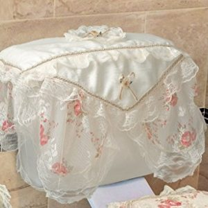 Violet Linen Luxurious and Elegant Eden Lace Style Bathroom Tank Cover, Beige