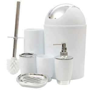 JNSM Products LLC 6 Item Bathroom Set for Toothbrush, Soap, Trash Bin, Tumbler and Toilet Brush