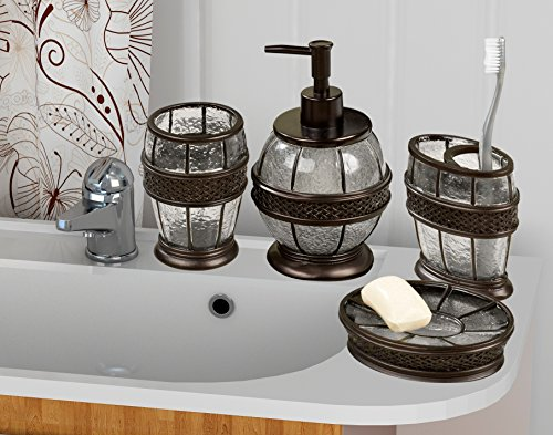 nu steel Resin Crackled Ice Bath Accessory Set for Vanity Countertops, 4 Piece Luxury Ensemble Includes soap Dish, Toothbrush Holder, Tumbler, soap and Lotion Pump, Oil Rubbed Bronze