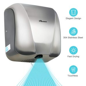 PLUSSEN Automatic Commercial Hand Dryers for Bathrooms Commercial 1800W Heavy Duty Stainless Steel Hot Air Compact Electric Hand Dryer Blower, Fast Drying in 10 Seconds (Silver 2)
