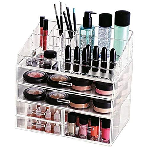 Cosmetic Makeup and Jewelry Storage Display Case Acrylic Organizer for Vanity, Dresser, Countertop –Compartments Large Capacity Fits All Cosmetics and Skincare Products - Beautiful and Functional