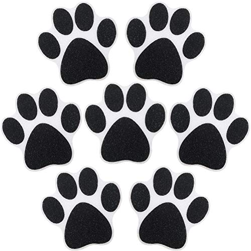 10 Pieces Non-Slip Bathtub Stickers Adhesive Paw Print Bath Treads Non Slip Traction to Tubs Bathtub Stickers Adhesive Decals Anti-Slip Appliques for Bath Tub Showers, Pools, Boats, Stairs (Black)