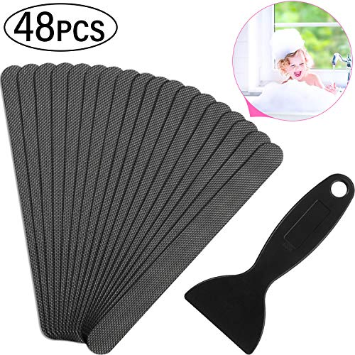 48 Pieces Grey Strip Shaped Bathtub Stickers Adhesive Shower Stickers Anti-Slip Appliques with Black Scraper for Bathtub Shower Stairs Ladders Boats