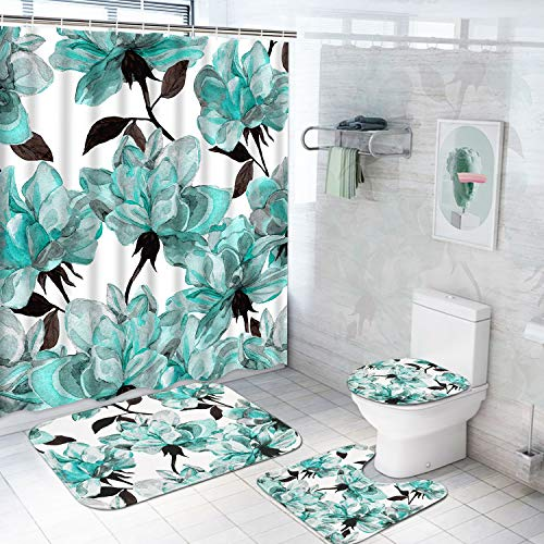 TAMOC 4 Pcs Watercolor Flower Shower Curtain Set with Non-Slip Rug, Toilet Lid Cover and Bath Mat, Blue Rose Shower Curtain with 12 Hooks, Waterproof Colorful Floral Bathroom Shower Curtain