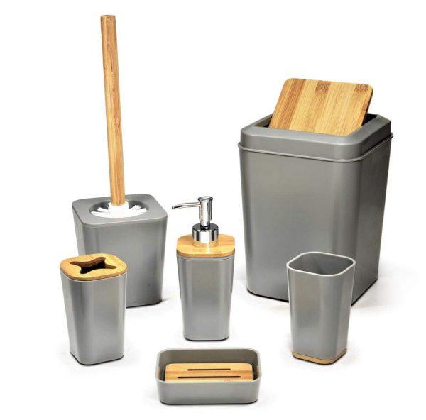 KRALIX Bathroom Set 6 Pieces Plastic Bathroom Accessories Toothbrush Holder, Rinse Cup, Soap Dish, Hand Sanitizer Bottle, Waste Bin, Toilet Brush with Holder Grey
