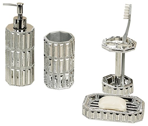 nu steel Chrome Resin Bath Accessory Set for Vanity Countertops, 4 Piece Luxury Ensemble Includes Dish, Toothbrush Holder, Tumbler, soap and Lotion Pump
