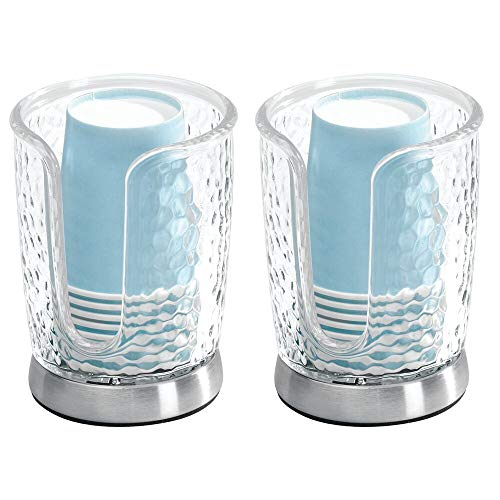 mDesign Modern Plastic Compact Small Disposable Paper Cup Dispenser - Storage Holder for Rinsing Cups on Bathroom Vanity Countertops - 2 Pack - Clear/Brushed