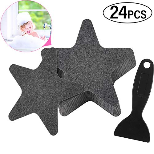24 Pieces Star Shaped Bathtub Stickers Adhesive Shower Floor Stickers Anti Slip Appliques with Black Scraper for Bathtub, Showers, Pools, Boats, Stairs