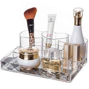 lureme Clear Acrylic Makeup Organizer with Diamond Pattern Lipstick Organizer Cosmetic Beauty Display Case (cb000024)