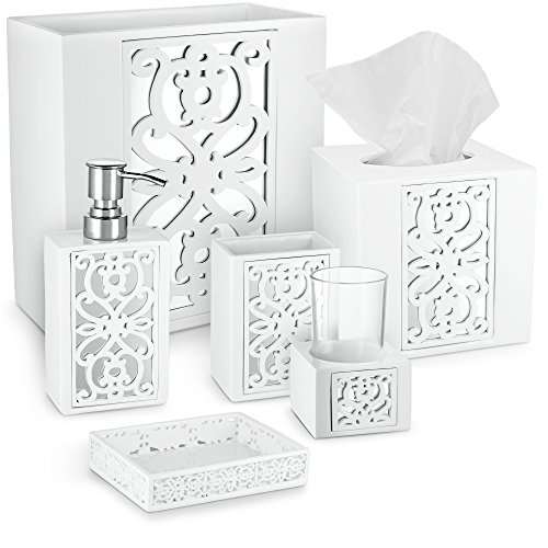 DWELLZA Mirror Janette Bathroom Accessories Set, 6 Piece Bath Set Collection Features Soap Dispenser, Toothbrush Holder, Tumbler, Soap Dish, Tissue Cover, Wastebasket, (White)