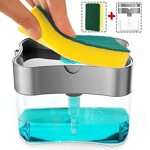 FCOZM Kitchen Soap Dispenser with Sponge Holder, 2 in1 Dish Soap Dispenser and Kitchen Sink Caddy Sponge Holder, 13 Ounces Soap Pump Dispenser Refillable, 1pcs Free Kitchen Sponges (Silver)