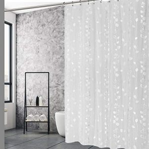 "EXCELL Home Fashions Ivy Shower Curtain, PEVA Shower Curtain, PVC Free, No Chemical Odors, 100% Waterproof, For Master Bathroom, Guest Bathroom, 70"" x 72"", Silver"