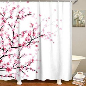 "LIVILAN Pink Floral Bathroom Curtain Cherry Blossom Shower Curtain Set with 12 Hooks, Flower Fabric Bath Curtain Bathroom Decor, Machine Washable, White 72"" X 72"""