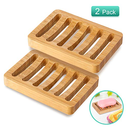 2 Pack Bamboo Wood Soap Dish Holder, Bar Soap Saver Case for Shower, Bathroom, Kitchen, Bathtub, Counter Top, Anti-Slip Design, Soap Tray to Keep Soap Dry Clean