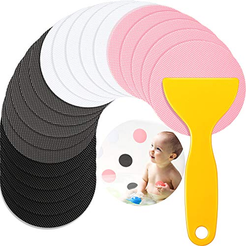 40 Pieces Non-Slip Bathtub Stickers with Installation Scraper Safety Bathroom Tubs Showers Treads Adhesive Decals Anti-slip Appliques for Bath Tub Showers, Pools, Stairs (Pink, White, Black, Gray)