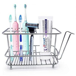 SYOSIN Toothbrush Holder for Bathroom Wall or Counter, Stainless Steel Rustproof, Non-Slip Mat Drill-Free Toothbrush Organizer for Electronic Toothbrush, Toothpaste, Razor, Cup and Facial Cleaner
