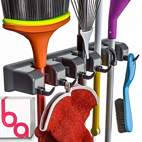 Berry Ave Broom Holder and Garden Tool Organizer Rake or Mop Handles Up to 1.25-Inches, Small, Black