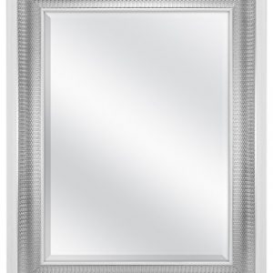 MCS 18x24 Inch Beveled Wall Mirror White and Woven Silver Finish, 24.5 x 30.5 Inch