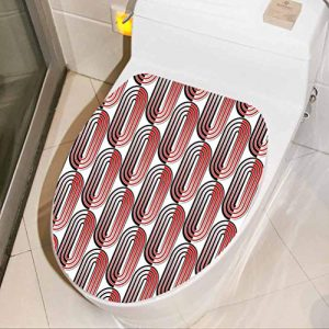 Toilet Seat Lid Cover Decals Stickers Ellipse Curves Surrounded by Focal Points Mathematical Modern Motif Red Black 3D View PVC Wall Stickers Decor Vinyl Toilet Lid Decal Decor, W8xH11 INCH