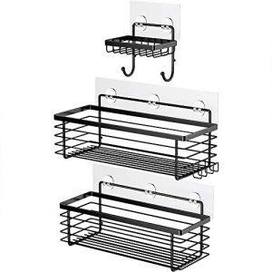 ODesign Shower Caddy Basket with Hooks Soap Dish Holder Shelf for Shampoo Conditioner Bathroom Kitchen Storage Organizer SUS304 Stainless Steel Adhesive 3 Pack - Black