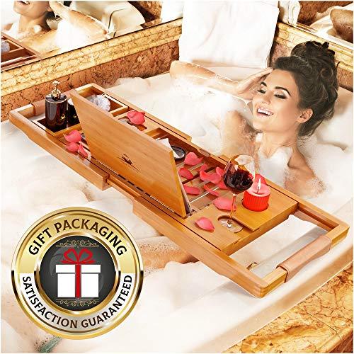 YM Lux Craft Bamboo Bathtub Caddy Tray [Durable, Non-Slip], 1-2 Adults Expandable Bathtub Tray, Beautiful Gift Box, Fits Any Tub Bath - Holds Book, Wine, Phone, Ipad, Laptop- Free Bathroom Door Hanger