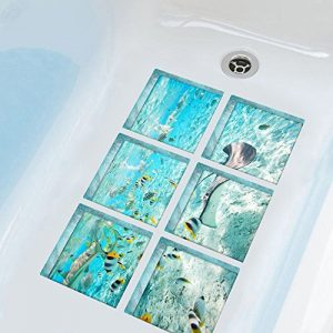 "ChezMax The Underwater World Bath Treads Sticker Safety Decals Non Slip Bath Tub Tattoos Tub Stickers Tub Decals Non Slip Bathtub Stickers Tub Appliques 6 Pcs 5.9"" X 5.9"""