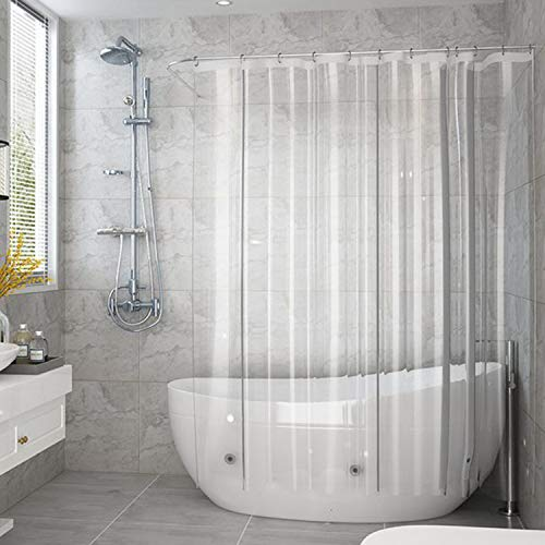 AooHome Clear Shower Curtain Liner, Eva Extra Long Shower Curtain with Hooks, Bottom Magnets, Waterproof, Heavy Weight, Rust Proof Grommets, 72x78 Inches