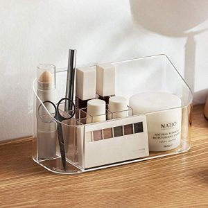 SUNFICON Makeup Tray Organizer Bathroom Cabinet Cosmetic Storage Tray Holder Countertop Vanity Makeup Display Tray Case with 9 Compartments 2 Removable Dividers for Beauty Essentials Crystal Clear