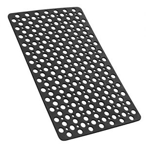 YINENN Bathtub Mat Non Slip with Suction Cups, TPE Shower Mat and Phtahlate Latex Free, Machine Washable Bath Mat for Tub, Soft Bathroom Mats with Drain Holes 30 x 17 Inch (Black)