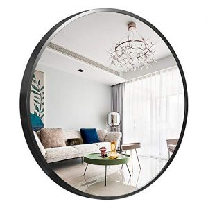 "NeuType Round Mirror Metal Framed Wall-Mounted Mirror Hanging Mirror for Bathroom, Washroom, Bedroom, Living Room (Black, 24"" x 24"")"