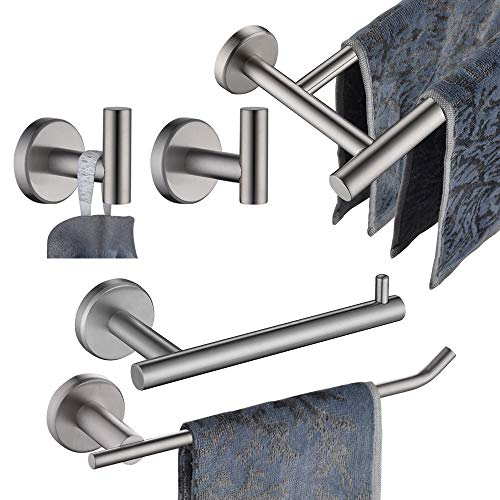 JQK Bathroom Hardware Towel Bar Set, 5-Piece Bath Accessories Set Brushed Finished Wall Mount Includes 24 in Towel Bar, 9 in HT Bar, TP Holder, Towel Hook x 2, BAS105-BN
