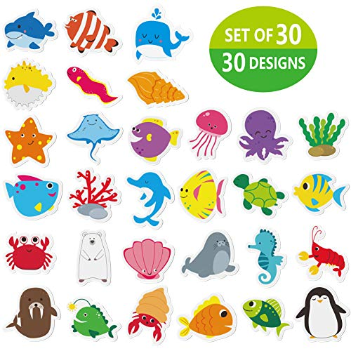 """Hebayy 30 Adorable Non-Slip Sea Animal Bathtub Shower Deco Water-Resistance Stickers in 30 Designs (Each Measures About 3"""" X 3"""")"""